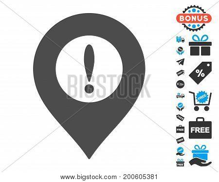 Caution Marker gray icon with free bonus graphic icons. Vector illustration style is flat iconic symbols.