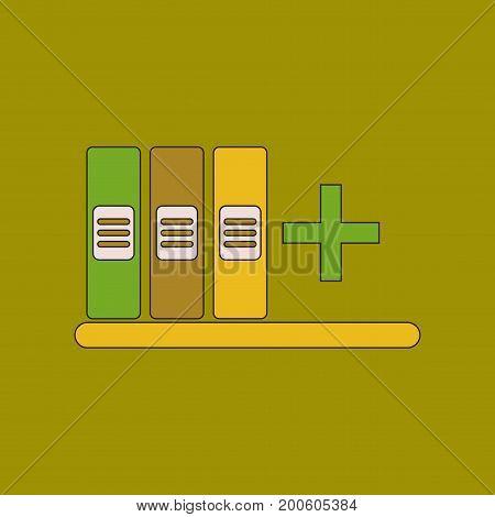 flat icon with thin lines shelf folder