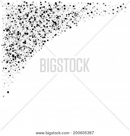 Dense Black Dots. Top Left Corner With Dense Black Dots On White Background. Vector Illustration.