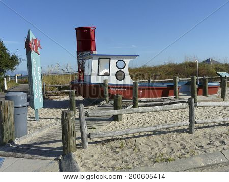 DAUPHIN ISLAND, ALABAMA-OCTOBER 20, 2016: The Sea Lab Estuarium, a marine research and education center and public aquarium, includes a boardwalk with exhibits highlighting coastal Alabama habitats.