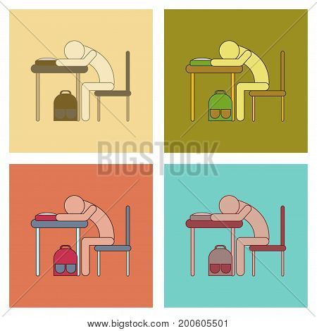 assembly of flat icons student sleeping at the desk