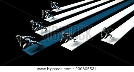 Competitive Advantage in a Business Competition Environment 3D Illustration Render