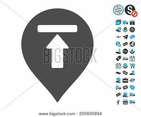 Dead End Marker gray pictograph with free bonus symbols. Vector illustration style is flat iconic symbols.