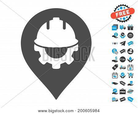 Development Helmet Marker gray pictograph with free bonus images. Vector illustration style is flat iconic symbols.
