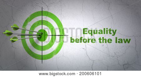 Success political concept: arrows hitting the center of target, Green Equality Before The Law on wall background, 3D rendering