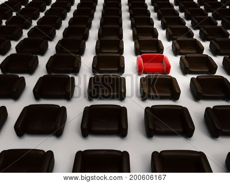 differentiation concept with 3d rendering red armchair among black armchairs