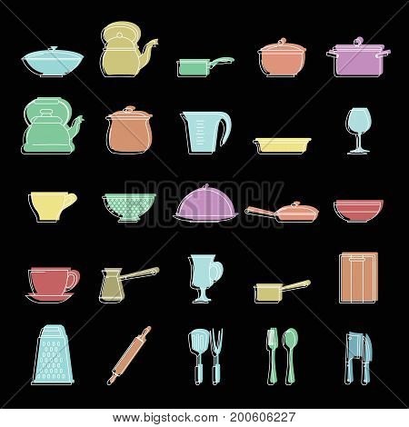 Kitchen dishes set doodle vector illustration for design and web isolated on black background. Kitchen dishes vector object for labels  and advertising