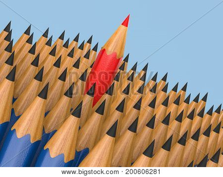 leadership concept with 3d rendering red pencil among blue pencils