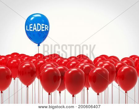 leadership concept with 3d rendering blue balloon among red balloons