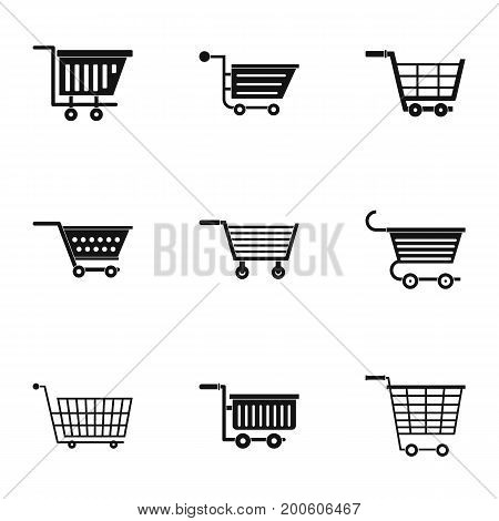 Supermarket cart icon set. Simple set of 9 supermarket cart vector icons for web isolated on white background