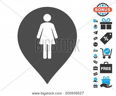 Female Toilet Marker grey icon with free bonus design elements. Vector illustration style is flat iconic symbols.