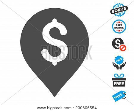 Financial Marker gray icon with free bonus design elements. Vector illustration style is flat iconic symbols.