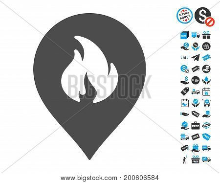 Fire Marker grey pictograph with free bonus pictograph collection. Vector illustration style is flat iconic symbols.