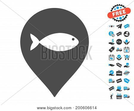 Fish Marker gray pictograph with free bonus pictures. Vector illustration style is flat iconic symbols.