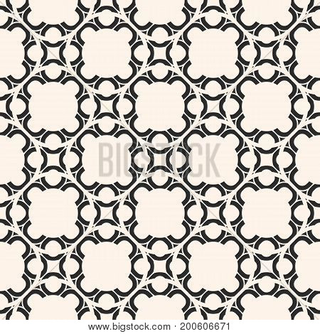Arabic seamless pattern. Monochrome abstract geometric ornament in oriental style. Delicate ornamental vector texture. Arabesque background, repeat tiles. Design for decor, textile, tiling, fabric.