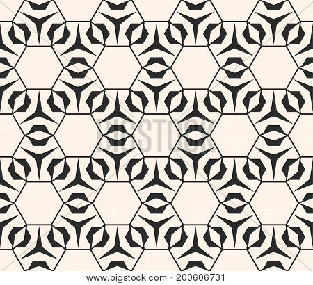 Geometric seamless pattern with thin lines hexagonal grid. Subtle vector geometrical texture. Abstract repeat monochrome background, repeat tiles. Elegant fine design for decoration, package, fabric.