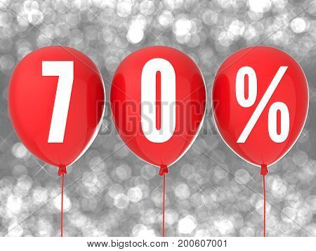 3d rendering 70% sale sign on red balloons