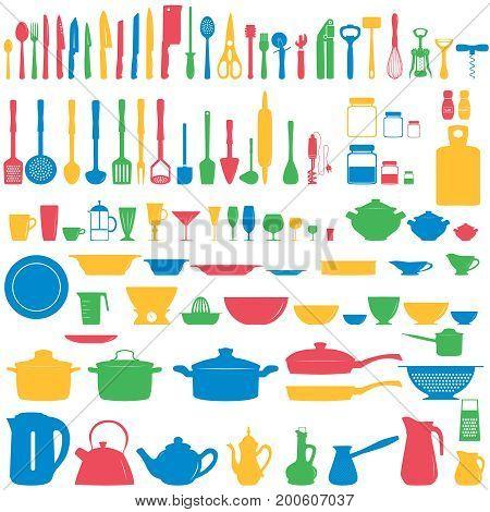 Set of kitchen utensils icons, vector illustration,