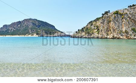 panoramic landscape of Voidokilia beach Messinia Peloponnese Greece