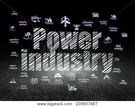 Industry concept: Glowing text Power Industry,  Hand Drawn Industry Icons in grunge dark room with Dirty Floor, black background