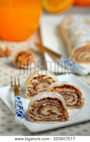 Homemade walnut Nut Roll, close up, dessert