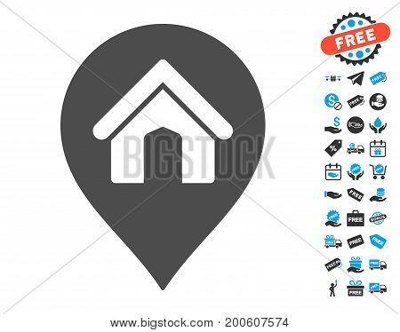 House Marker gray icon with free bonus clip art. Vector illustration style is flat iconic symbols.