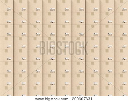 3d rendering carton box background or cardboard box background