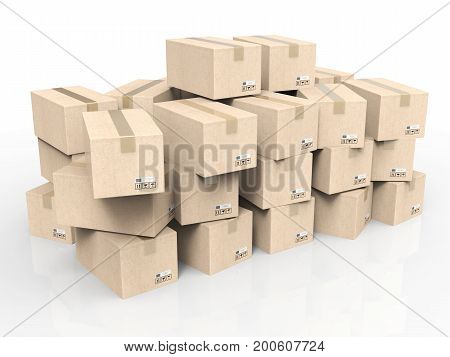 3d rendering heap of stockpiled boxes on white background