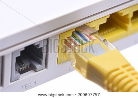Computer network cable in router closeup, isolated on white background