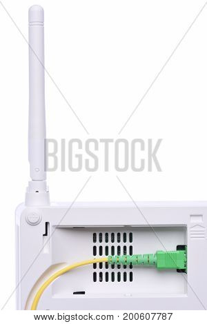 Passive optical network unit isolated on white background closeup