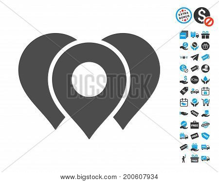 Location Markers gray pictograph with free bonus clip art. Vector illustration style is flat iconic symbols.
