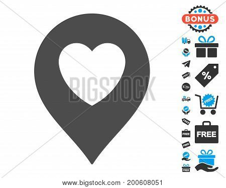 Love Heart Marker gray icon with free bonus pictures. Vector illustration style is flat iconic symbols.