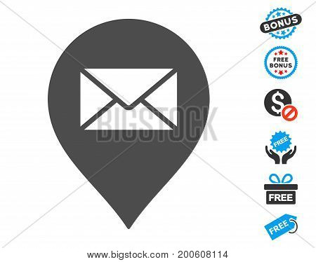 Mail Letter Marker gray icon with free bonus design elements. Vector illustration style is flat iconic symbols.