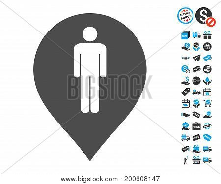 Man Toilet Marker grey icon with free bonus pictograph collection. Vector illustration style is flat iconic symbols.