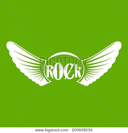 Rock icon white isolated on green background. Vector illustration