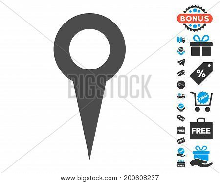 Map Marker grey pictograph with free bonus pictograph collection. Vector illustration style is flat iconic symbols.