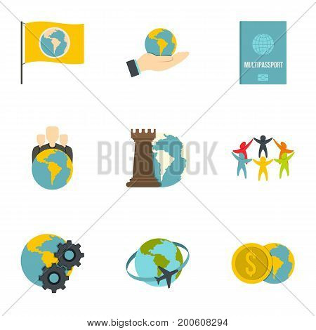 Global communication icon set. Flat set of 9 global communication vector icons for web isolated on white background