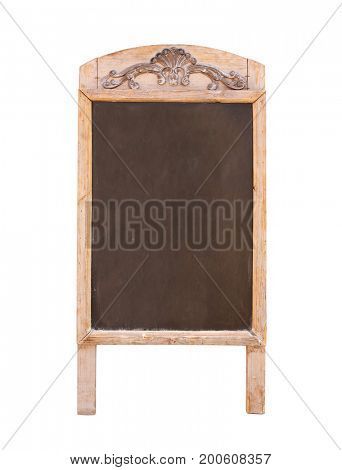 Wooden sidewalk sign with blank black menu board. Isolated on white background