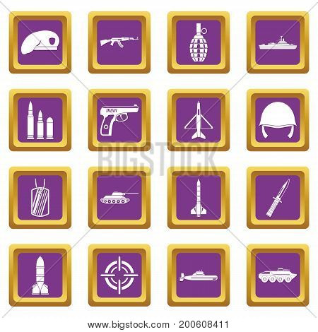 Military icons set in purple color isolated vector illustration for web and any design