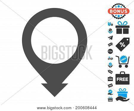 Map Pointer gray icon with free bonus icon set. Vector illustration style is flat iconic symbols.