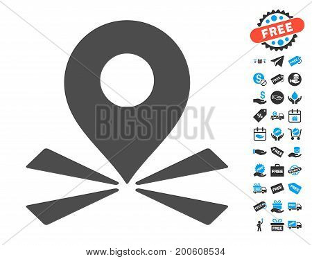 Marker Position grey pictograph with free bonus icon set. Vector illustration style is flat iconic symbols.