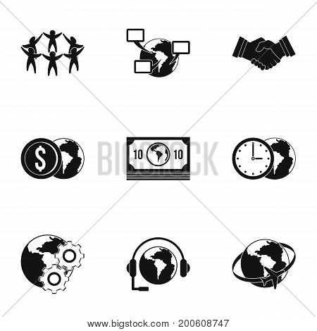 Global network icon set. Simple set of 9 global network vector icons for web isolated on white background