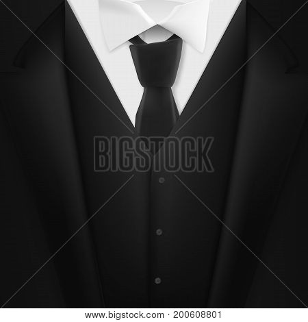 Illustration of Vector Black Suit. Realistic Mens Tuxedo Suit Succeed Businessman Concept