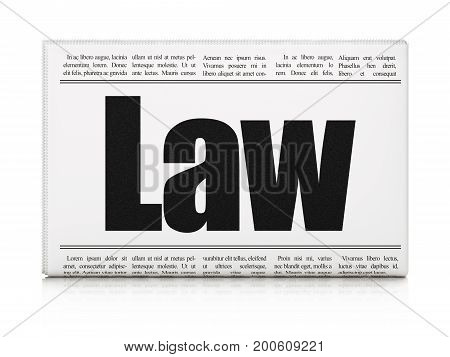Law concept: newspaper headline Law on White background, 3D rendering