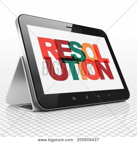 Law concept: Tablet Computer with Painted multicolor text Resolution on display, 3D rendering