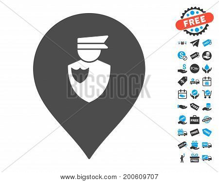 Policeman Marker grey pictograph with free bonus images. Vector illustration style is flat iconic symbols.