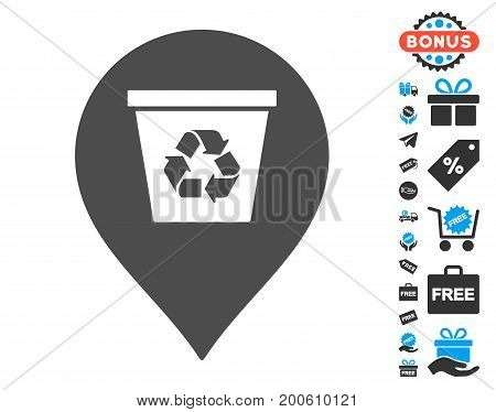 Recycle Bin Marker gray pictograph with free bonus images. Vector illustration style is flat iconic symbols.
