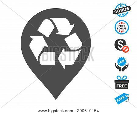 Recycle Map Marker grey pictograph with free bonus pictures. Vector illustration style is flat iconic symbols.