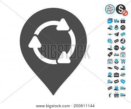 Rotation Map Marker gray icon with free bonus icon set. Vector illustration style is flat iconic symbols.