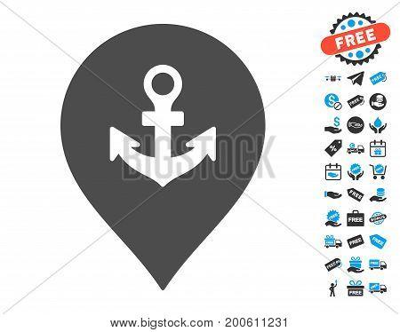 Sea Port Marker grey icon with free bonus images. Vector illustration style is flat iconic symbols.